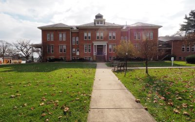 Campus building in fall.