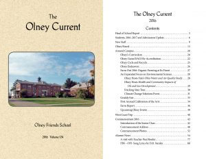 Cover and index for the 2016 Olney Current publication